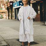 Oversized pyjamas stripes + Adidas Stan Smiths